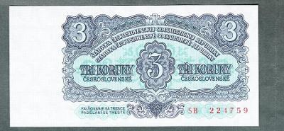 3 kčs 1961 serie SB NEPERFOROVANA stav UNC