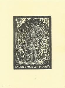 František Kobliha: Ex libris Mr. Josef Pancíř (dřevoryt)