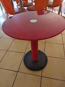 4 x Kulatý skleněný stolek. Např do cukrárny, nebo bistra. Cena za 4ks