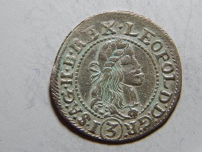 Leopold I. 3 Kreuzer 1677 KB XF č05378
