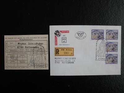 Rakousko FirstDayCover 1986, prošlé, doporučeně, vč.podacího lístku!