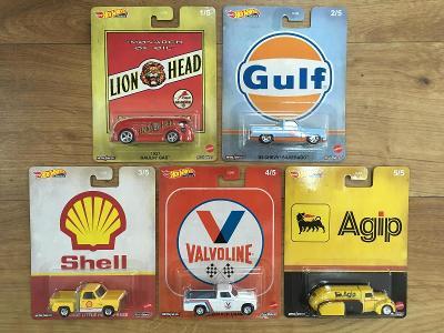 Sada premium Hot Wheels - olejáři Agip Valvoline Shell Gulf - 5 modelů