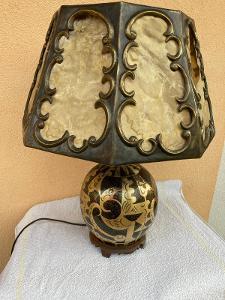 ART - DEKO. Luxusní kovová lampa - aukční kus !! nádherně zdobená !