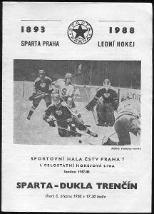 Sparta ČKD Praha - Dukla Trenčín - 1988 - program hokej