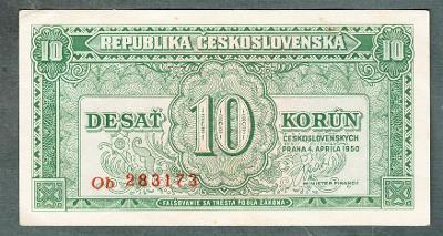 10 kčs 1950 serie OB NEPERFOROVANA stav 1