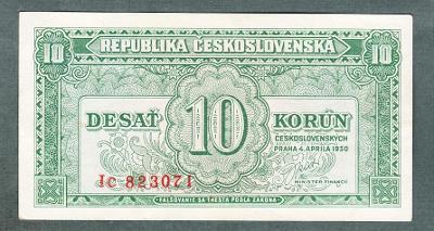 10 kčs 1950 serie IC NEPERFOROVANA stav 0