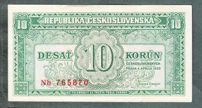 10 kčs 1950 serie NB NEPERFOROVANA