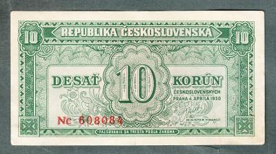 10 kčs 1950 serie NC NEPERFOROVANA stav 1
