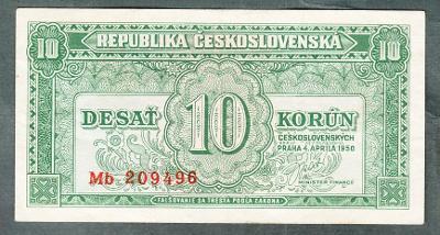 10 kčs 1950 serie MB NEPERFOROVANA