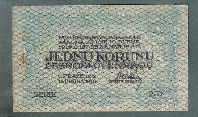 1 koruna 1919 serie 257