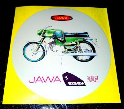 JAWA 250/350 BISON, bílá samolepka pr.7-(1x).
