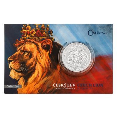 Stříbrná dvouuncová investiční mince Český lev 2021 stand číslovaný