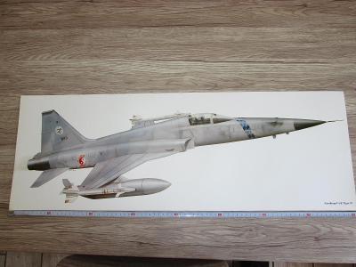 PRINT NORTHROP F-5E TIGER II SIGNED CHRIS DAVEY  81CM X 28.5CM
