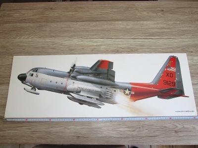 PRINT LOCKHEED LC-130R HERCULES SIGNED CHRIS DAVEY 81CM X 28.5CM