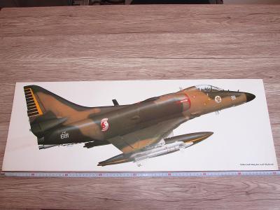 LARGE PRINT McDONNELL DOUGLAS A-4S SKYHAWK SIGNED 81CM X 28.5CM
