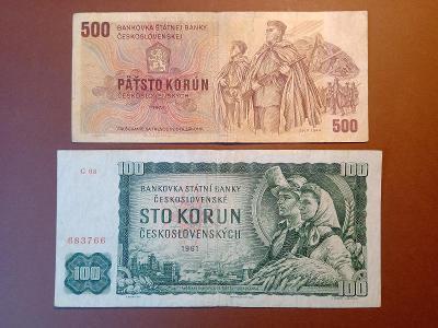 Sada bankovek 100 Kčs 1961 + 500 Kčs 1973 !!!