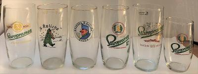 Starší pivní sklenice - set - 6 ks - Staropramen / hospoda U Kalicha