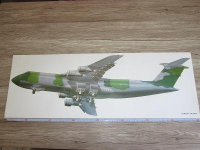 PRINT LOCKHEED C-5B GALAXY SIGNED MIKE BADROCKE 81CM X 28.5CM