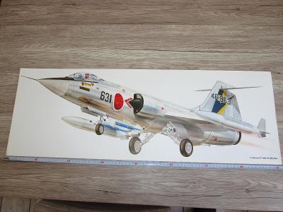 PRINT LOCKHEED F-104J STARFIGHTER SIGNED  81CM X 28.5CM