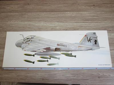 PRINT GRUMMAN A-6E TRAM INTRUDER  SIGNED   81CM X 28.5CM (266)