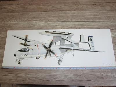 PRINT GRUMMAN E-2C HAWKEYE SIGNED  81CM X 28.5CM (269)