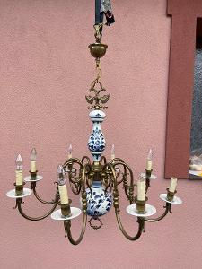 TOP-Luxusní  lustr- mosaz- porcelán