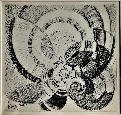 František Kupka - Okolo bodu, originální litografie z roku 1964