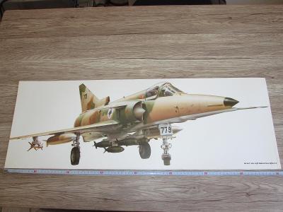 PRINT ISRAEL AIRCRAFT INDUSTRIES KFIR-C2 SIGNED  81CM X 28.5CM (274)