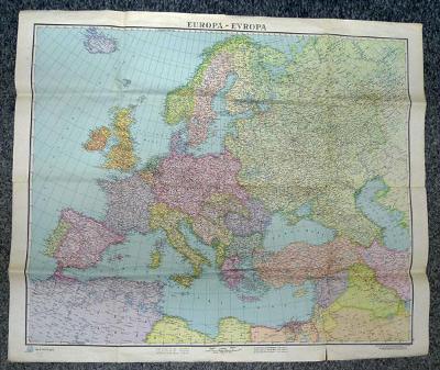 Mapa Evropy z roku 1943 - rozměr 80 x 67 cm