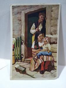 J. Strnad :Velikonoce, muž, žena, dítě, kroje