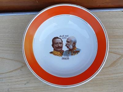 Starožitný talíř s císaři - František Josef I a Wilhelm II