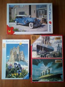 Puzzle 2x500 Titanic,1x500 Dolomity,1x600Auto  (Puzzle top stav)