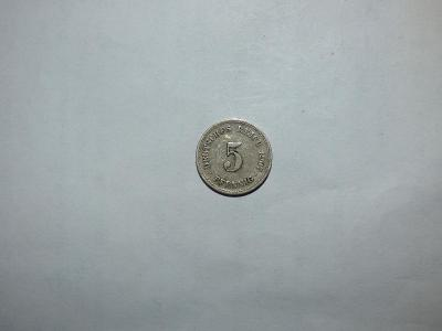 5 Pfennig 1907F, celkově pěkný stav