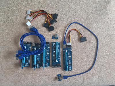 5x redukce PCI-e x16 na PCI-e x1 (PCI-e riser)