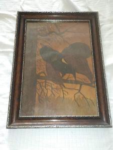 obraz olejomalba tetřev fauna karton sklo