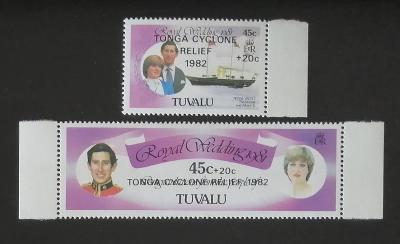 Tuvalu 1982 Přetisky pomoci tajfunu na Tonga