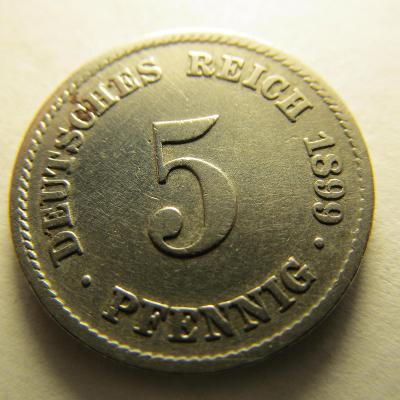 Německo, Kaiser Reich , 5 pfennig z roku 1899 F
