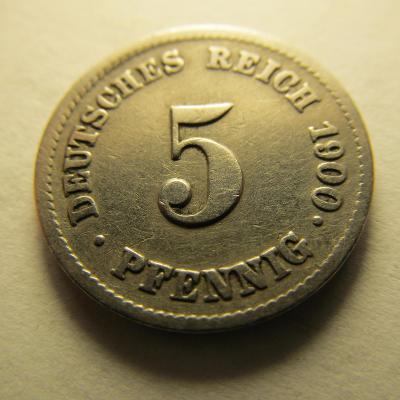 Německo, Kaiser Reich , 5 pfennig z roku 1900 J - R - HLEDANÁ