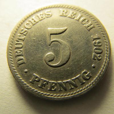 Německo, Kaiser Reich , 5 pfennig z roku 1902 D