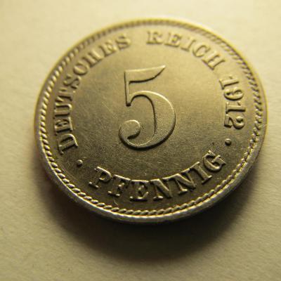 Německo, Kaiser Reich , 5 pfennig z roku 1912 J