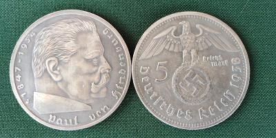 NĚMECKO TŘETÍ ŘÍŠE 5 RM 1938 HINDENBURG AH kopie *128d