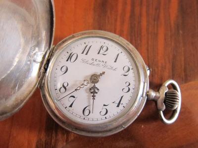 Stříbrné starožitné kapesní hodinky GENRE GLASHUTTE WATCH  - funkční