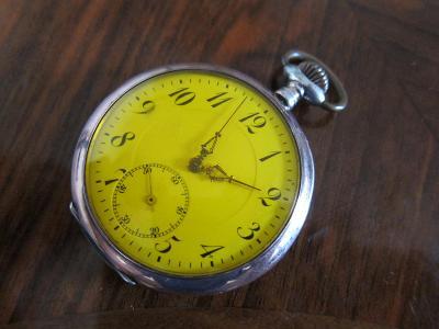 Stříbrné starožitné kapesní hodinky FRITZ SCHULZ SEBNITZ - funkční