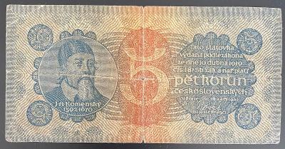 5 Kč 1921, J.A.Komenský, série 2, oběhový stav