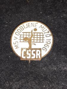 Odznak MS v odbíjené mužů 1966 ČSSR - bílá varianta