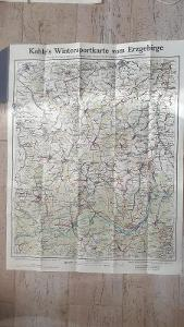 Stará zimní turistická mapa Krušných hor 1930-Jáchymov-Abertamy-Hamry