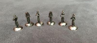 RARITA Židovská kapela 6 x figurka muzikanta ag stříbrné 83 gr. VZACNE