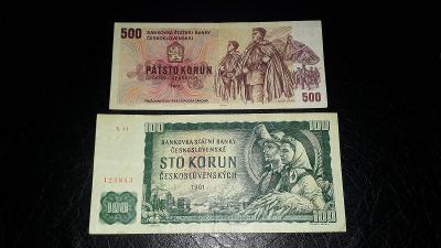 SADA BANKOVEK 100 Kčs 1961 + 500 Kčs 1973