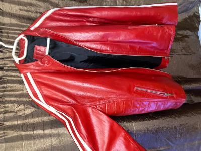 Červená kožená bunda racing team