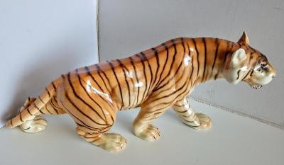 Luxusní velký porcelánový tygr DUX Deutshe 44 cm TOP STAV